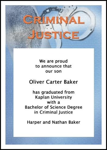 criminal justice graduation announcement and graduating ceremony