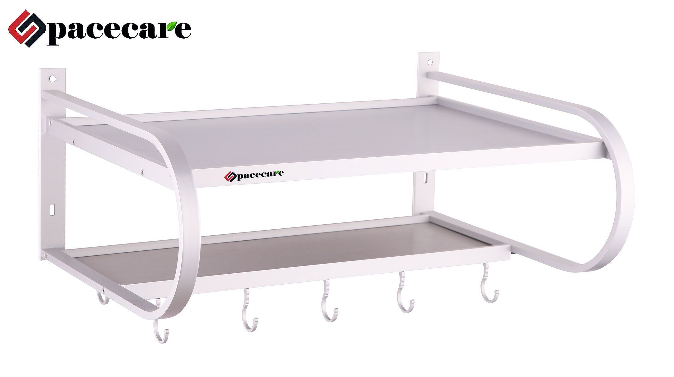 Spacecare Double Bracket Alumimum Microwave Oven Wall Mount Shelf