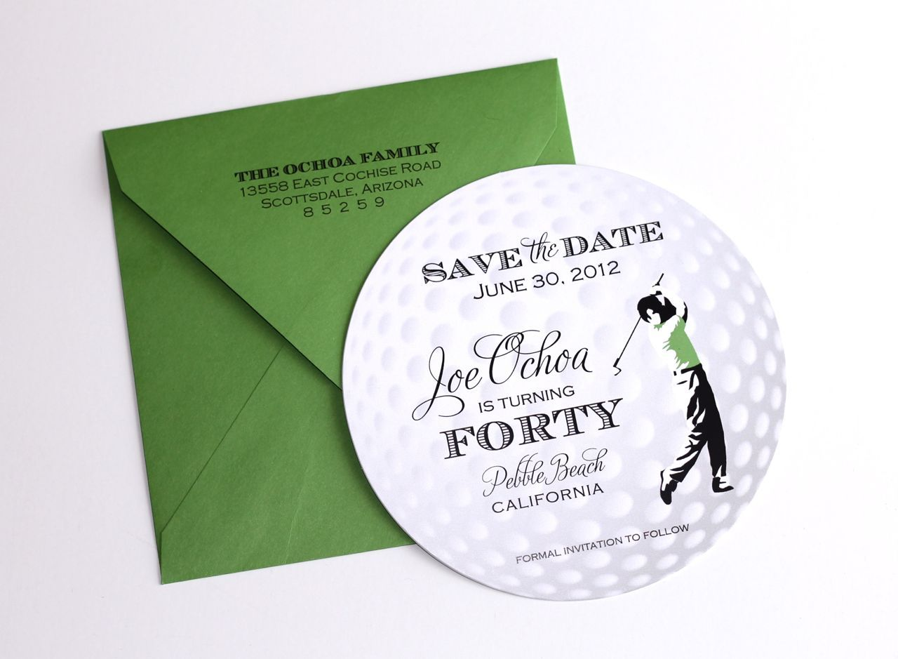 embellished paperie 40th birthday golf themed invitations golf