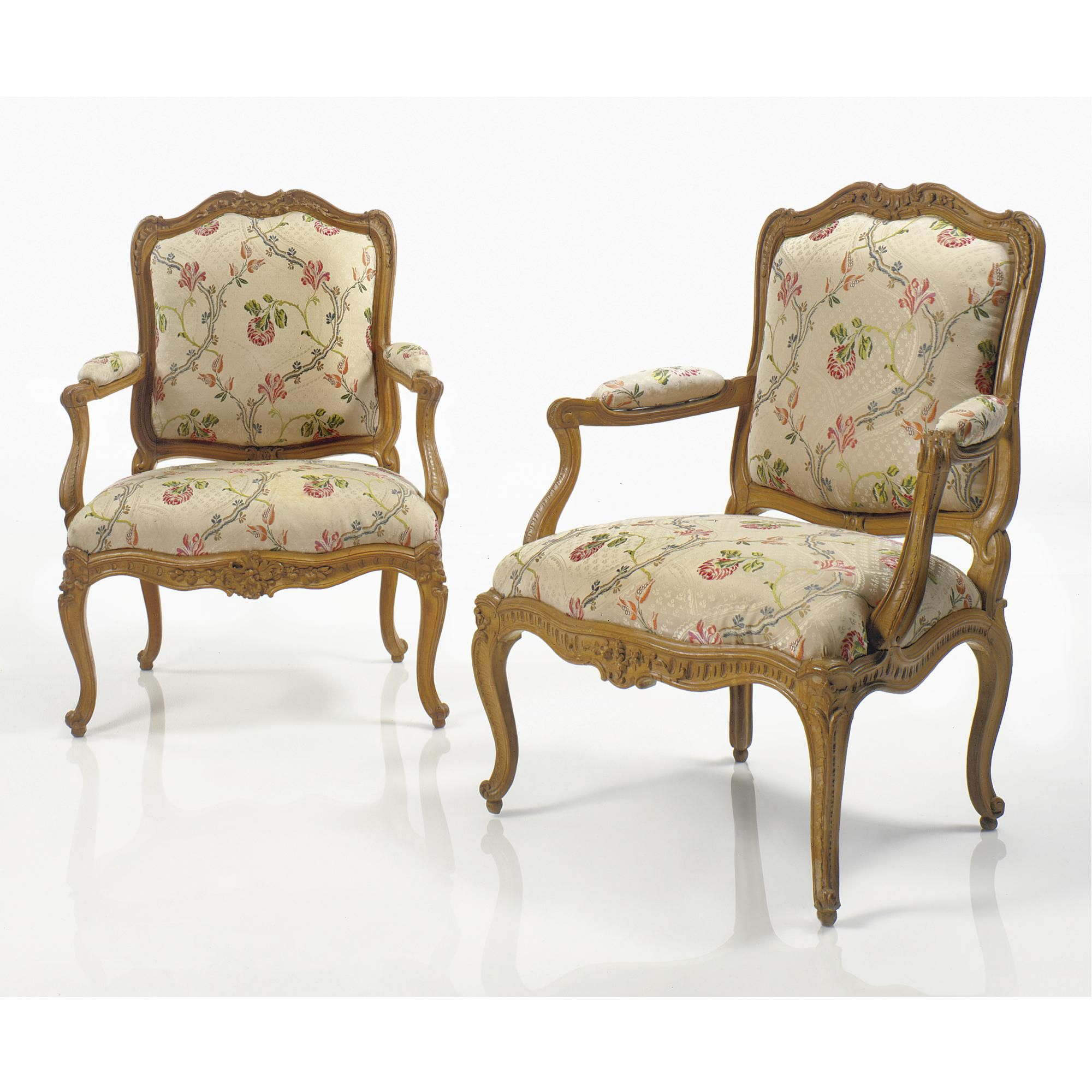c1750 A fine pair of Louis XV carved beechwood fauteuils à