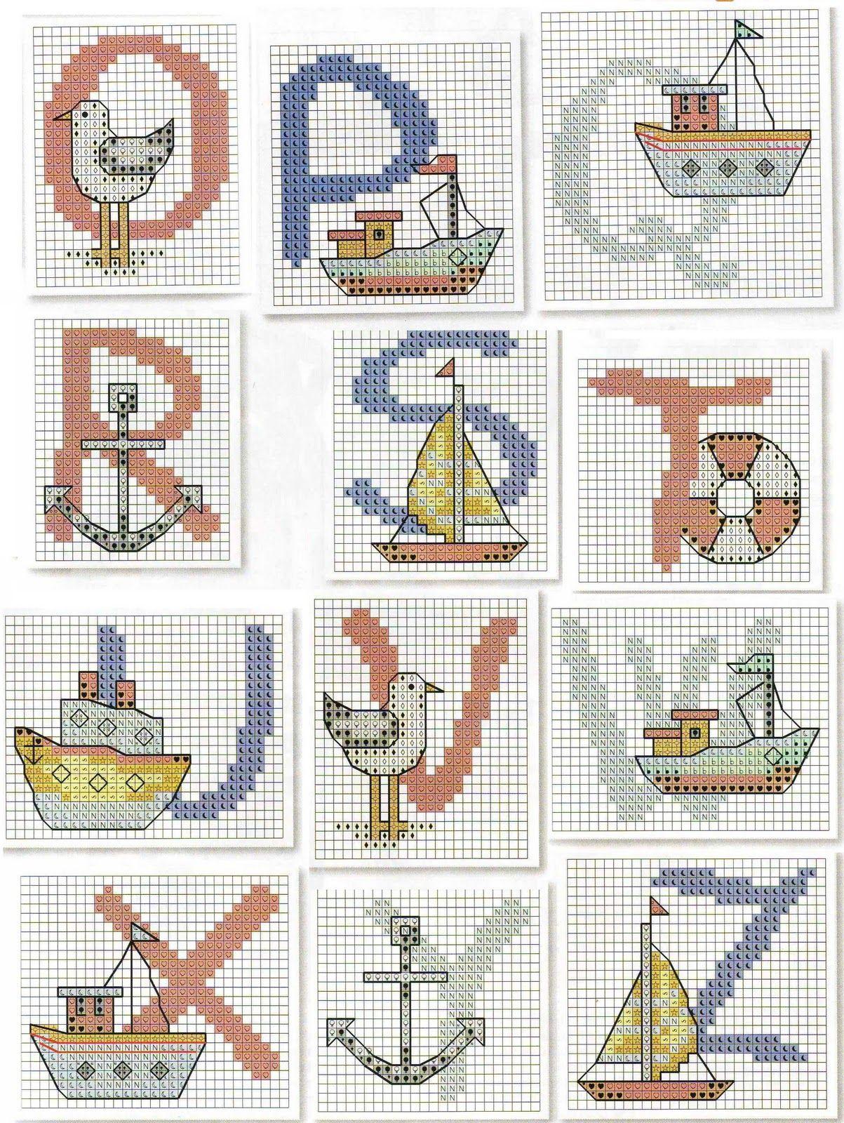 O - Z Sailing Cross Stitch | Ponto Cruz | Pinterest
