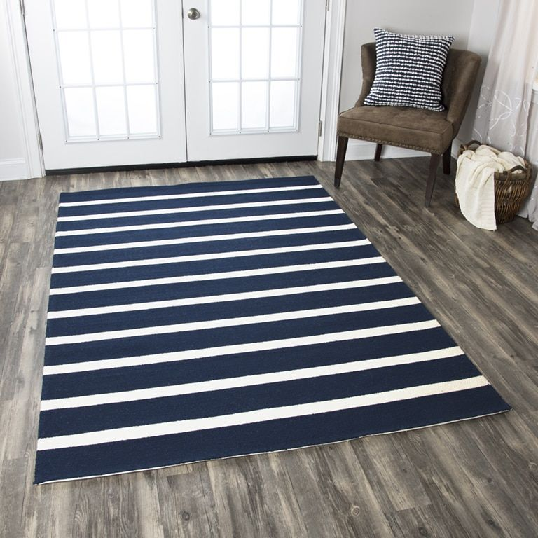 Navy Blue And Ivory Striped Rug