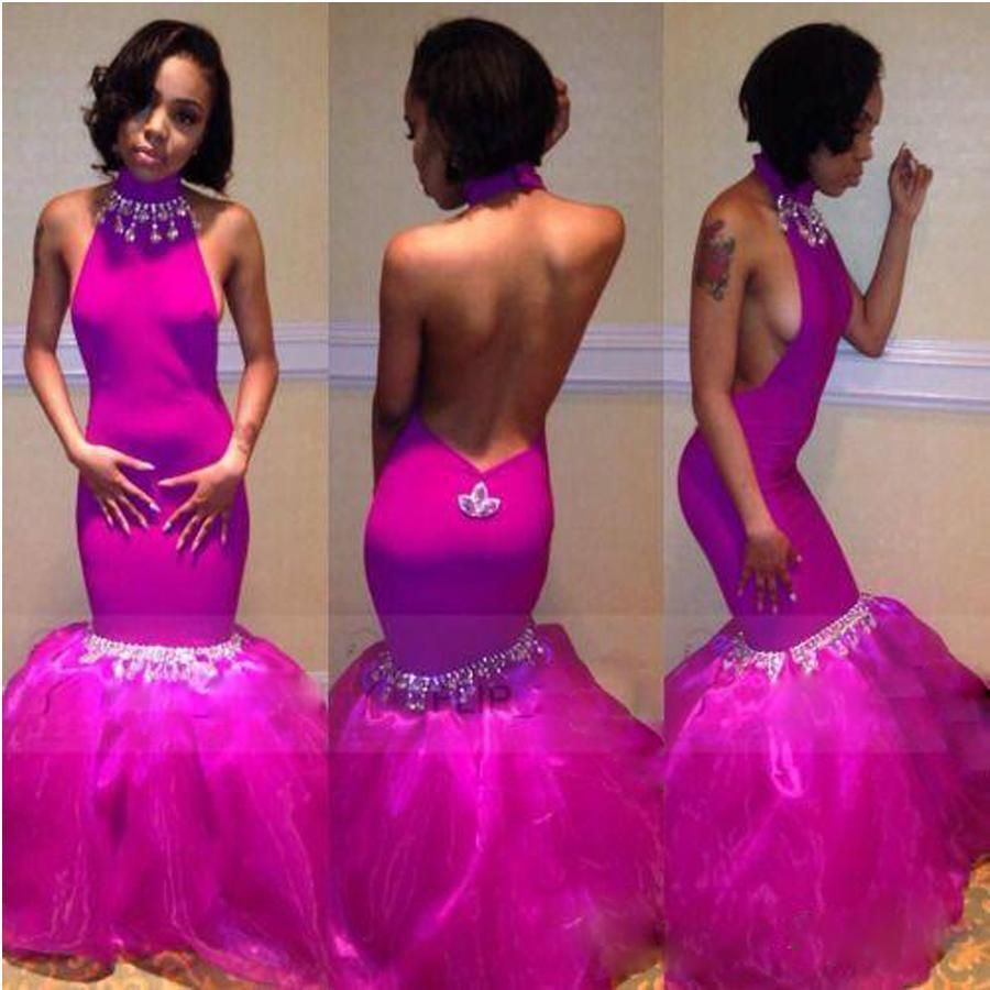 Hot Sexy Backless Prom Dress Beaded Dresses Evening Wear Mermaid ...