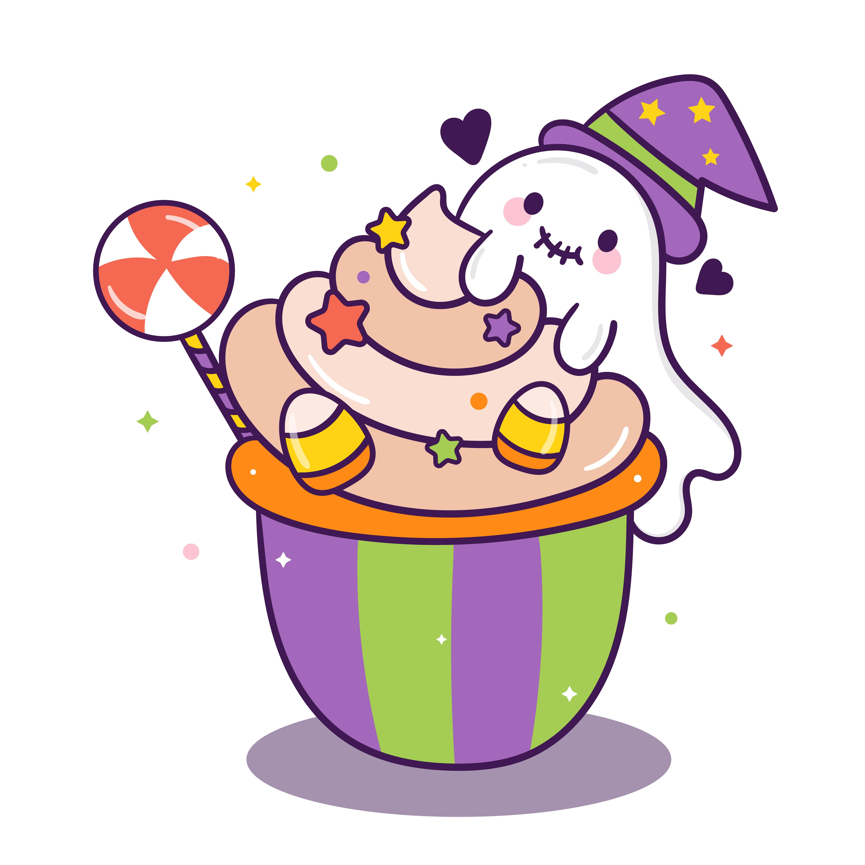 Happy Halloween festival, Cute Cake cartoon and candy