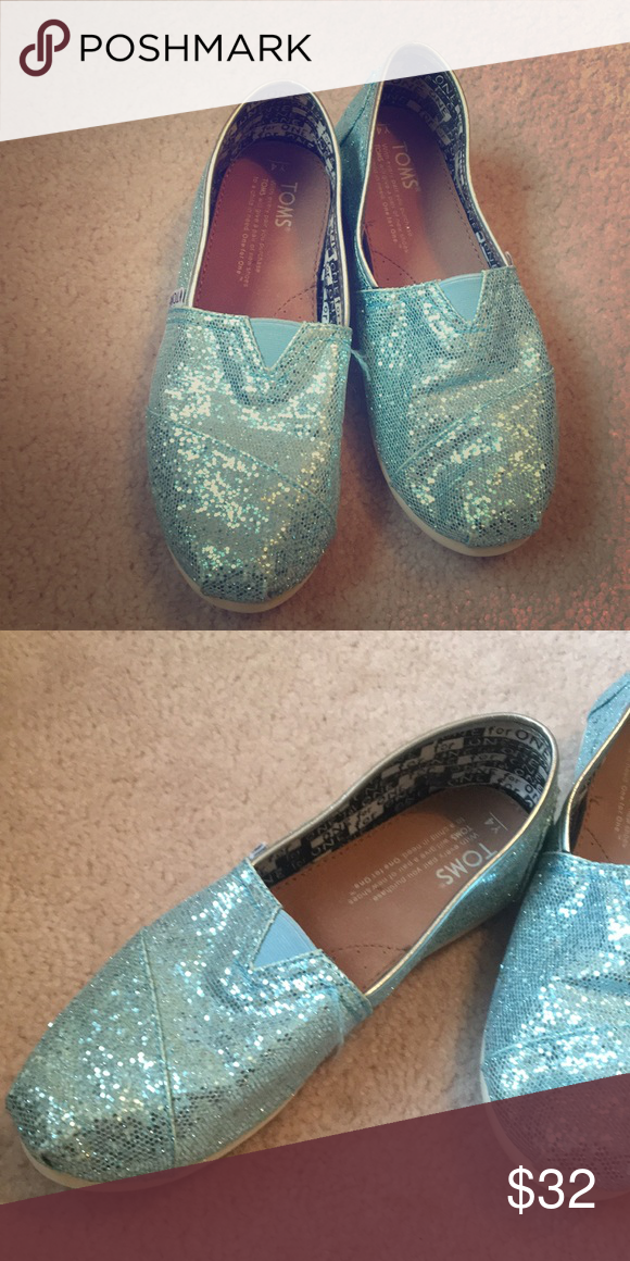 9060da811f07 Blue Sparkly Toms Light blue sparkly Toms slip-on shoes. Very cute and  comfortable