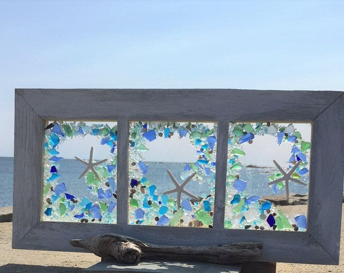 Beach Glass Panels With White Starfish Sea Glass Window Beach Glass Beach Glass Art