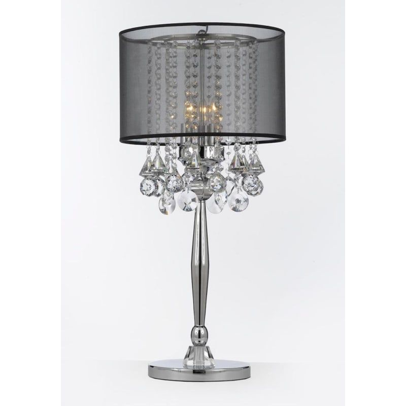 Harrison Lane T204 C0036 Blk Chrome 3 Light 29 Tall Buffet Table Lamp With Black Shade And Crystal Accents In 2020 Crystal Table Lamps Crystal Floor Lamp Table Lamps For Bedroom