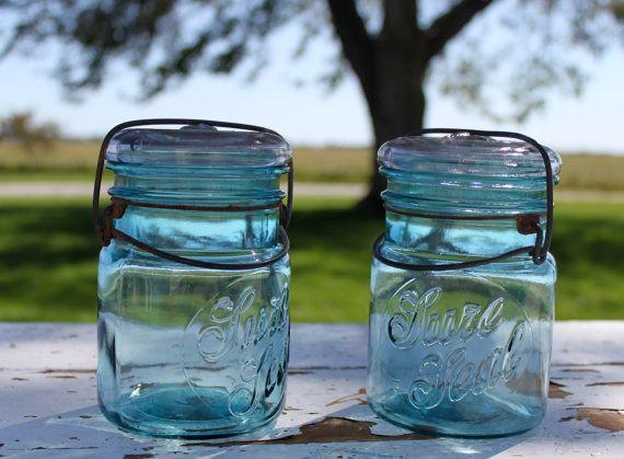 Aquamarine Blue Sure Seal Jars  Two by QuailRoadDryGoods on Etsy, Twenty Dollars
