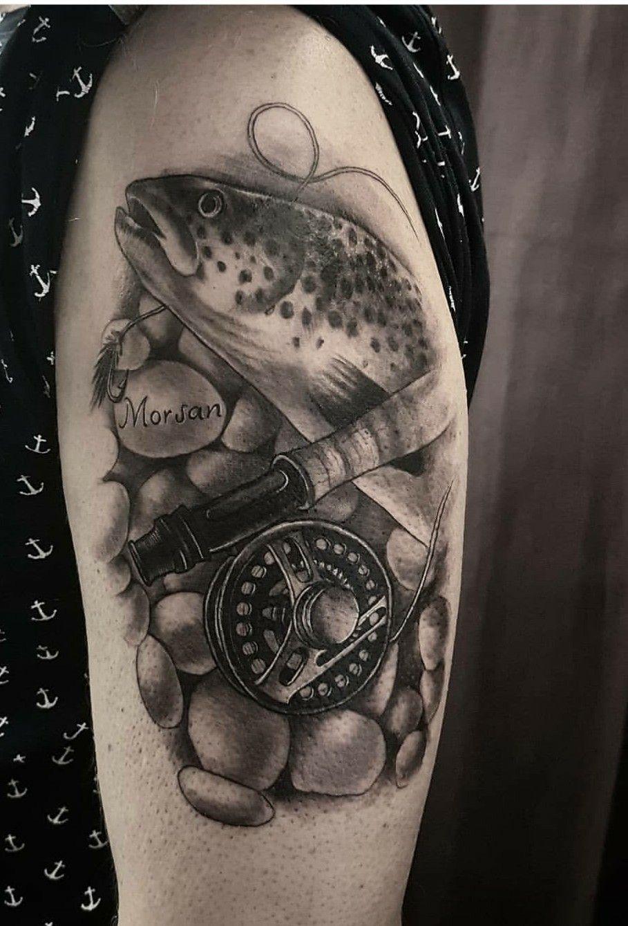 Trout Tattoo Trout Tattoo Fly Fishing Tattoo Hunting Fishing Tattoo