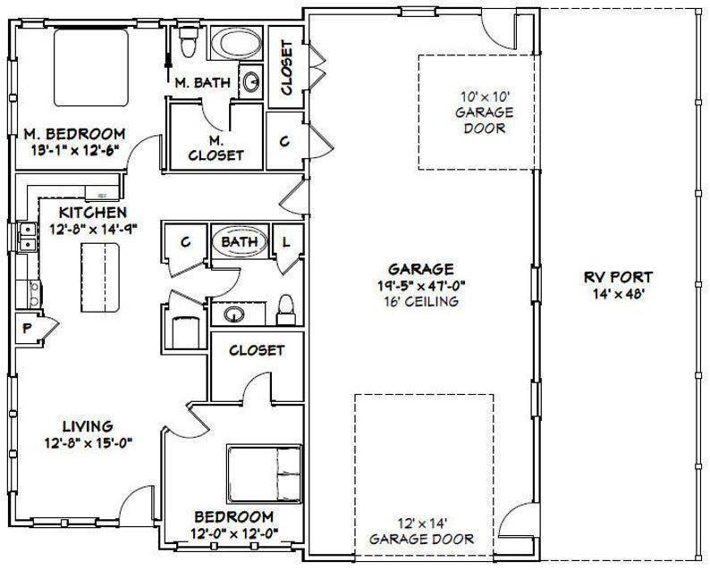 46x48 House 2Bedroom 2Bath 1,157 sq ft PDF
