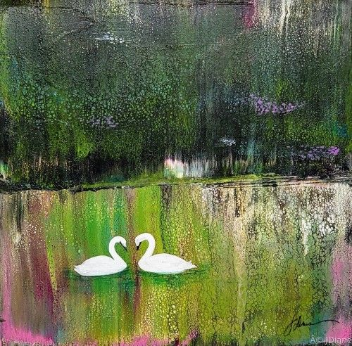 "Painting : ""Swans"" (Original art by ArtFelt Sentiments by J.Diane)"