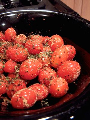 roasted cherry tomatoes (omit parmesan or cheat a bit!)