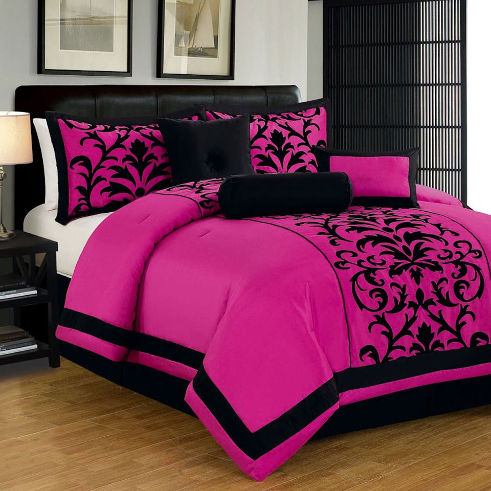 7 Piece Plush Designer King Comforter Set In Pink Home And Living