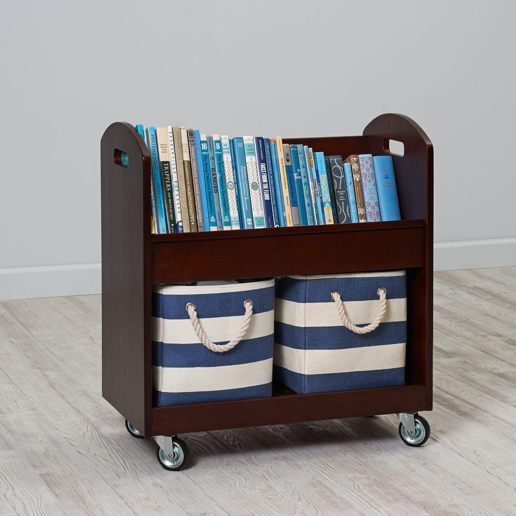 Kids Book Storage: Espresso Rolling Book Storage Shelf And Bin | The Land  Of Nod