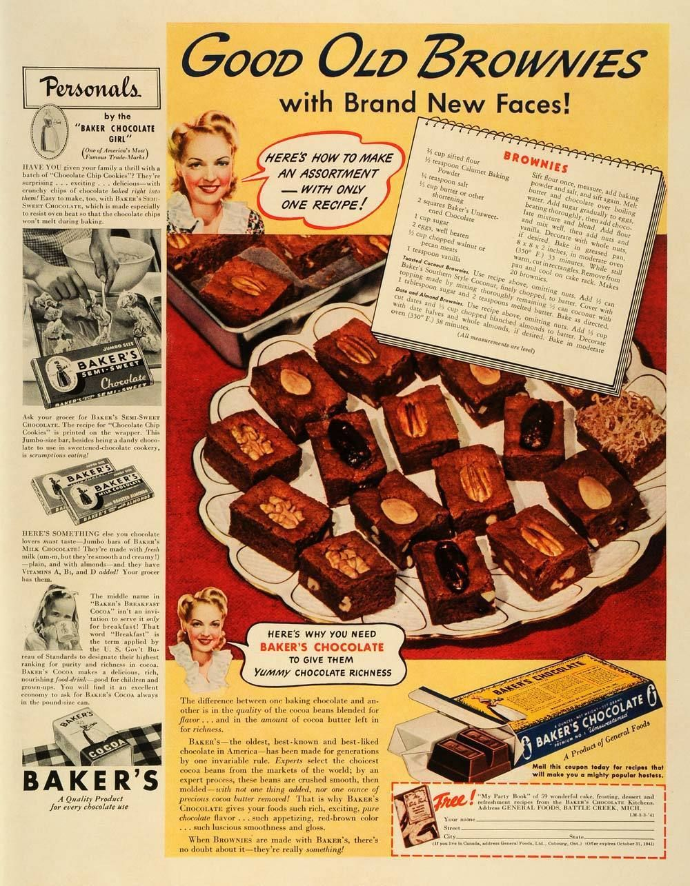 Baker's Chocolate Brownies Recipe | 1941 | vintage ad recipes ...