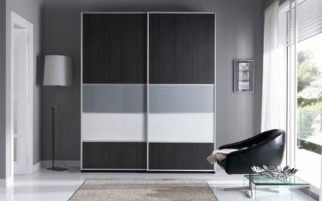 elegante armario de puertas correderas de xcm con detalles en cristal perfileria de aluminio