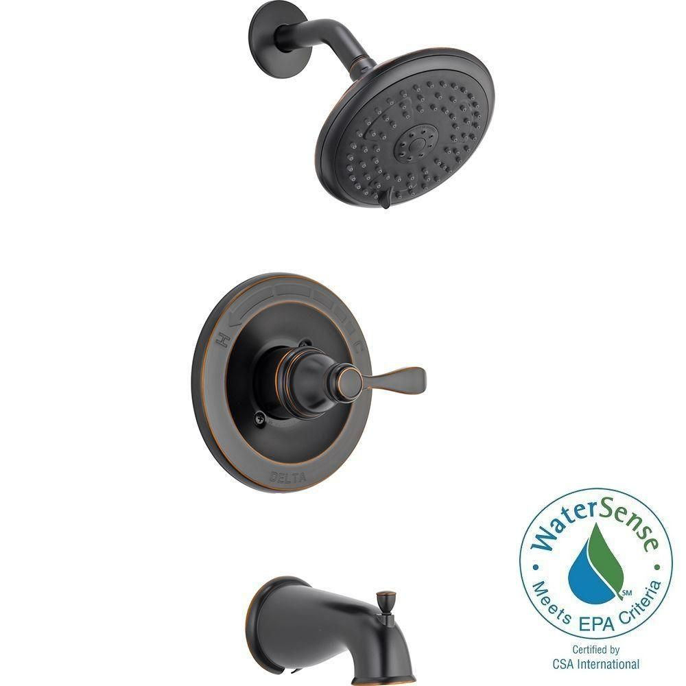 Delta Porter Single Handle 3 Spray Tub And Shower Faucet In Oil Rubbed Bronze 144984 Ob A The Home Depot Tub And Shower Faucets Shower Faucet Shower Tub