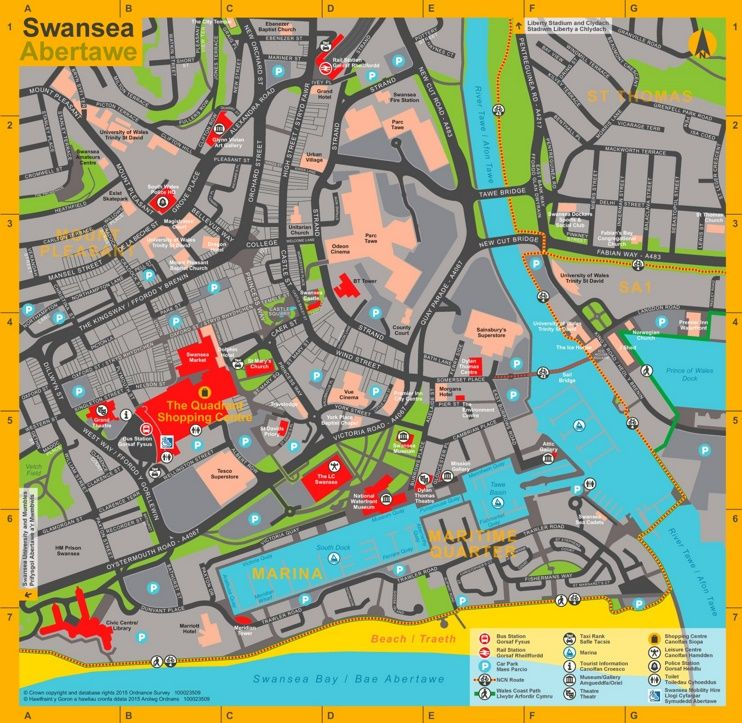 Swansea tourist map Maps Pinterest Tourist map Swansea and City