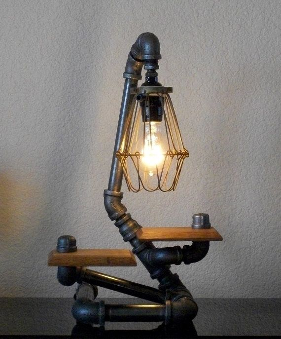 Industrial Desk Table Lamp with Hardwood Shelf and Wire Shade
