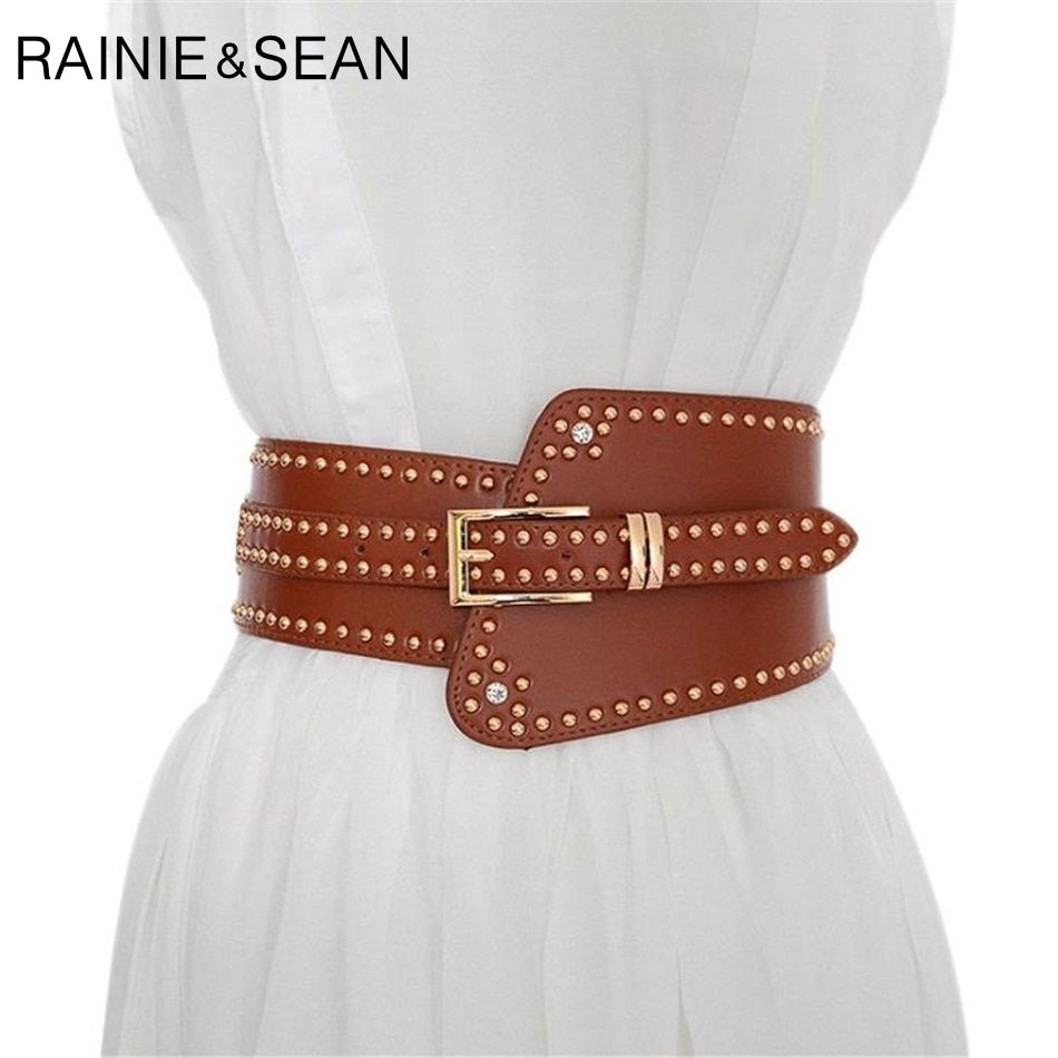 RAINIE SEAN Leather Belts For Ladies Red Wide Belts For Dresses