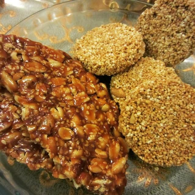 Indian winter desserts.. our version of the international peanut brittle with sesame and jaggery along with Amaranth cakes. They might just make it to the healthy desserts list!