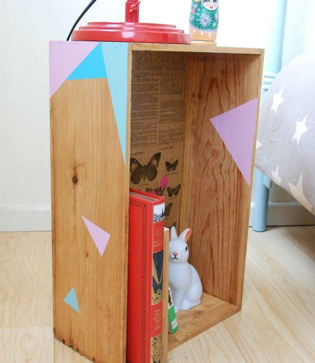 recycler une caisse de vin en table de chevet caisses de vin tables de chevet et chevet. Black Bedroom Furniture Sets. Home Design Ideas