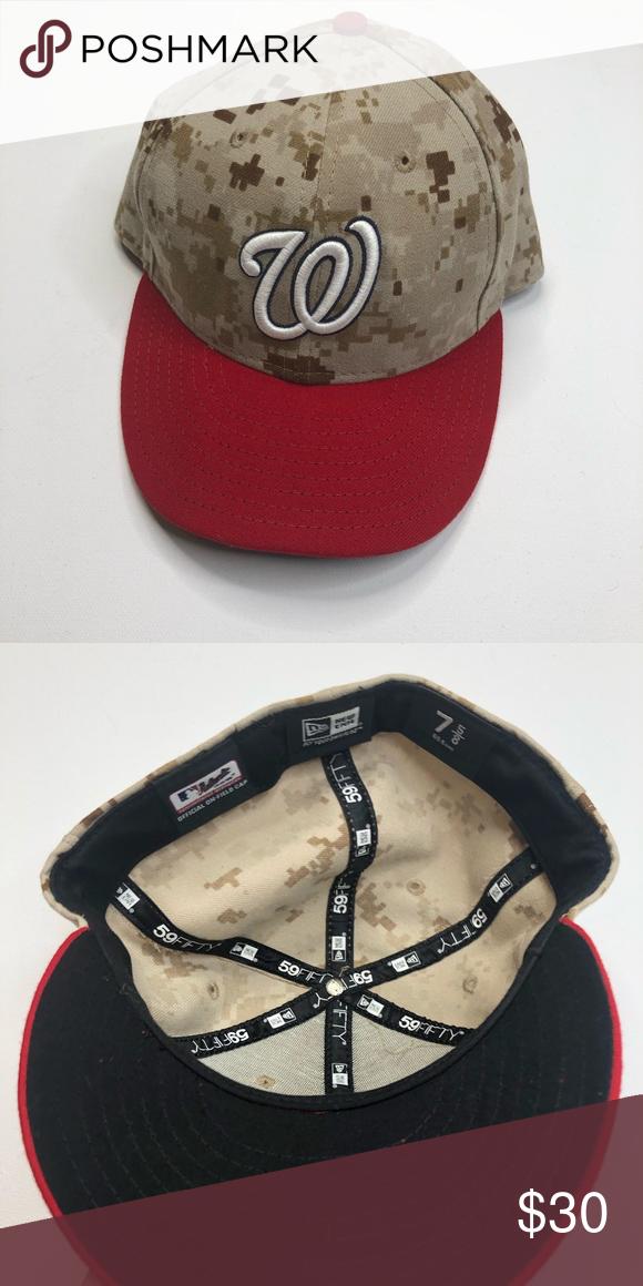 Washington Nationals Desert Camo Hat Washington Nationals Desert Camo Hat.  Stars n stripes limited edition. Red brim. Size 7 5 8. MLB Accessories Hats f3937946b7e