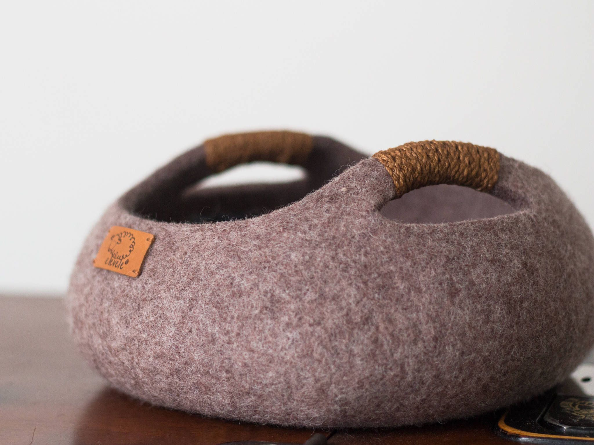 Cat bed cat house cat cave basket felted cat bed