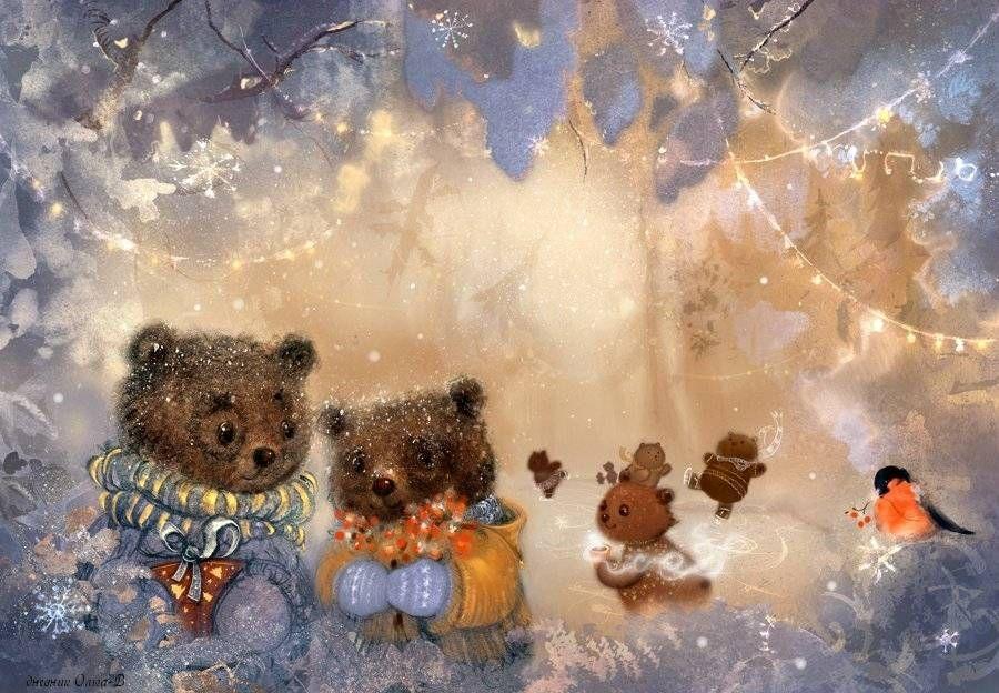 Постройки, медведь с открыток