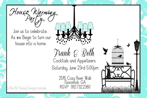 House Warming Party Invitation Tiffany Blue White Chandelier Bench - invitation to a party