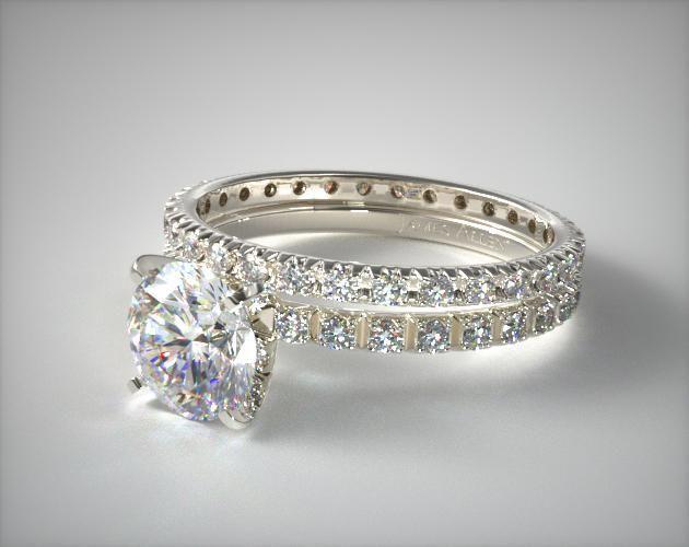 18k White Gold Thin French Cut Pave 20 Diamond Wedding Set 1715814208w Mobile