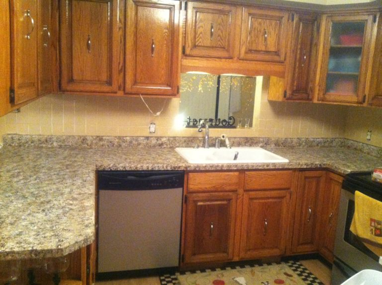 Finally The Kitchen Countertop Post Painting Kitchen Countertops Kitchen Countertops Kitchen Backsplash Tile Designs