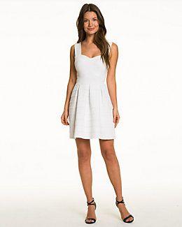 Knit V-Neck Fit & Flare Dress