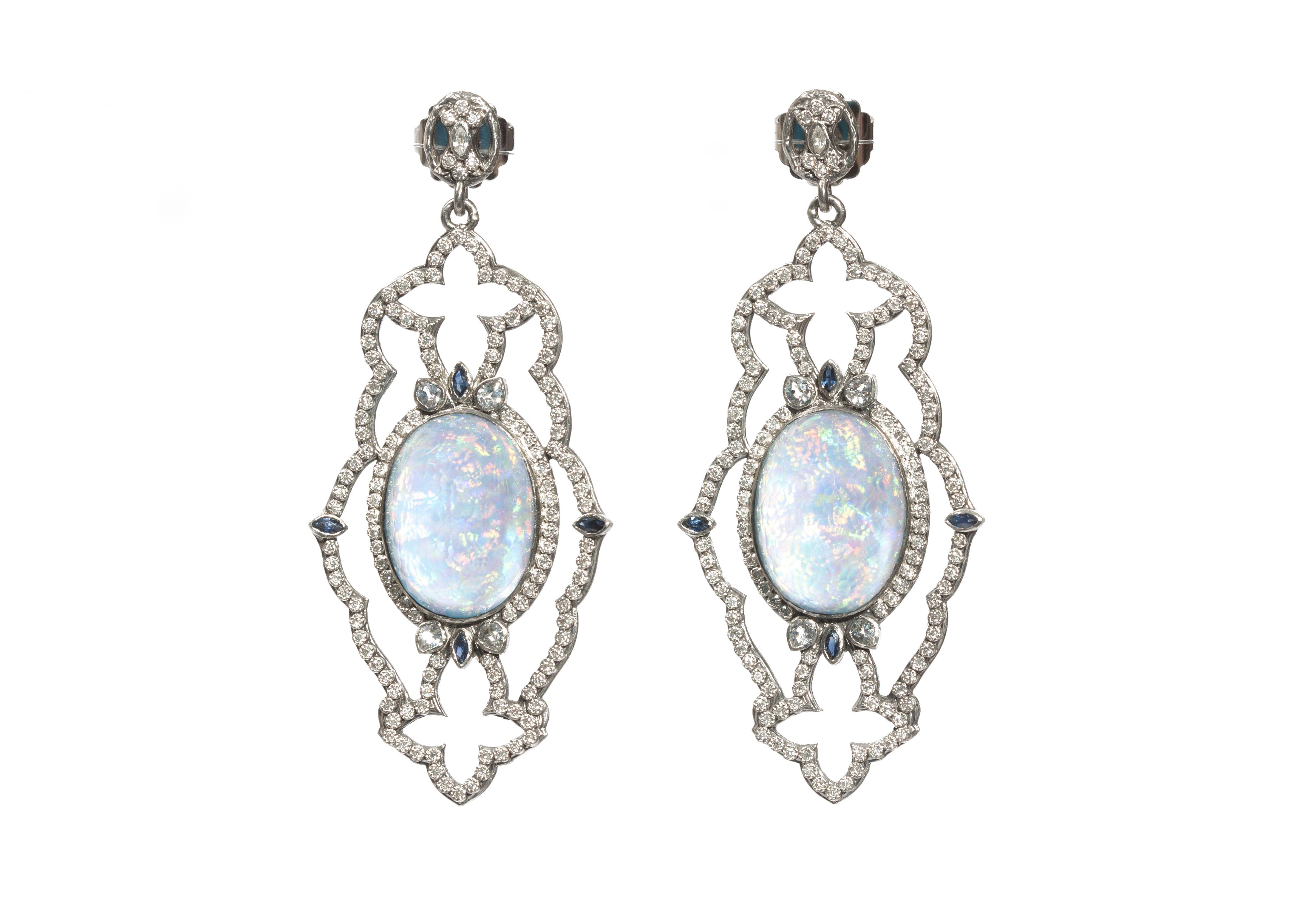 Armenta New World Midnight Scalloped Earrings with Diamonds 5blWh9jCo