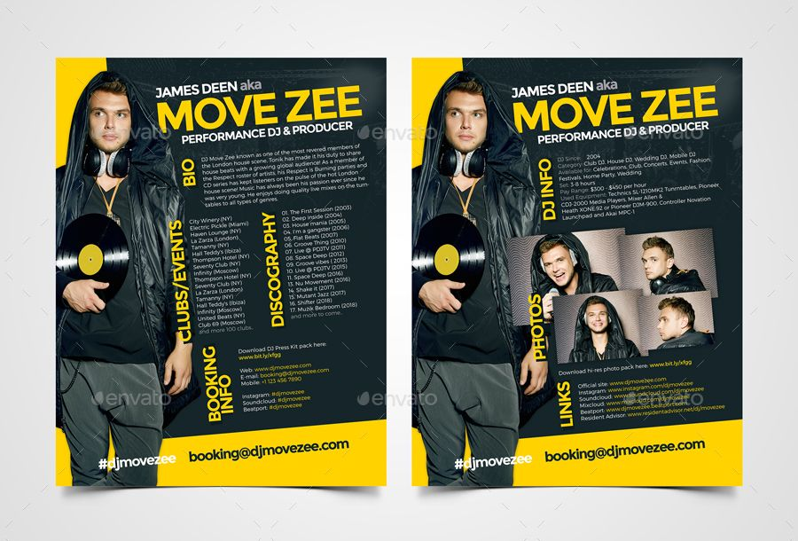 Movedj Dj Press Kit Dj Resume Dj Rider Psd Template Press Kit Dj Psd Templates