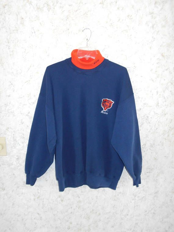 Vintage Chalk Line Chicago Bears Turtleneck Sweatshirt Navy Blue Orange Embroidered  NFL Football Made in USA