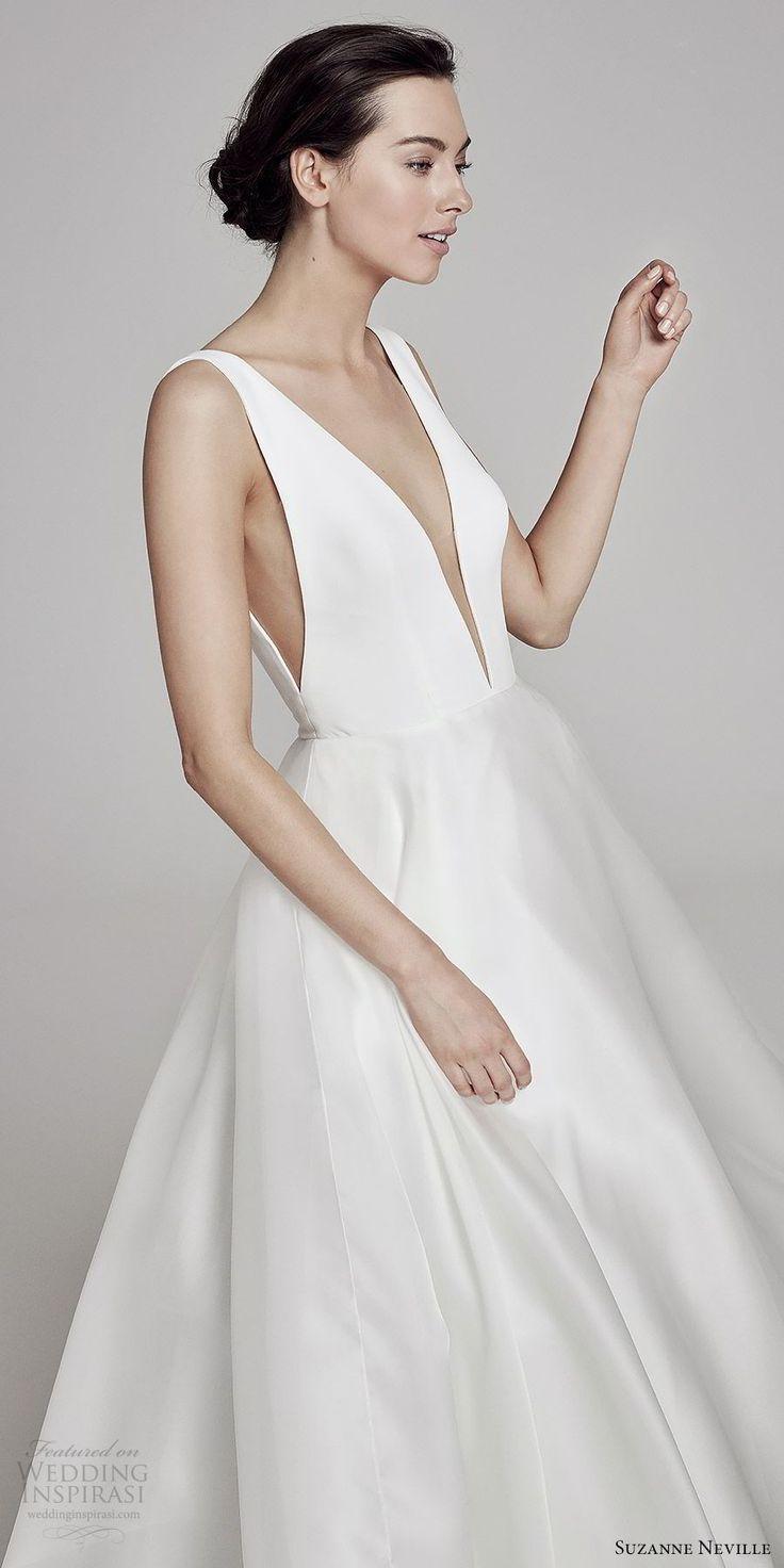 6d30b0d136b suzanne neville bridal 2019 sleeveless plunging v neck a line wedding dress  (serrano) clean chic modern minimal zv -- Suzanne Neville 2019 Wedding  Dresses ...