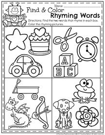 Rhyming Words Cut And Paste Worksheets Sketch Coloring Page