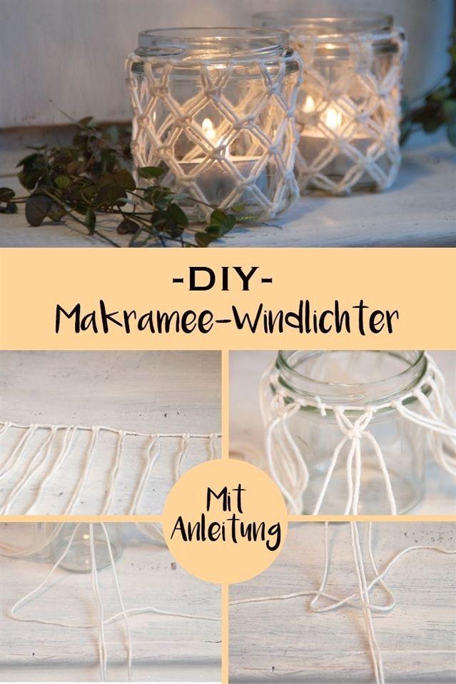 DIY Makramee-Windlichter mit Schritt-für-Schritt-Anleitung #diycrafts