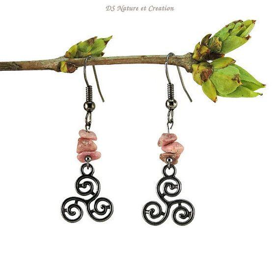 Trinity Symbol Jewelry Rhodonite Earrings Sacred Symbol Earrings