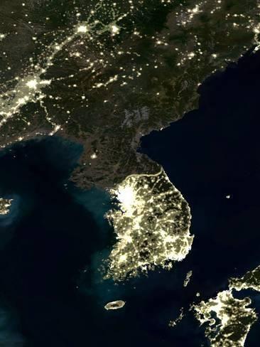 Korea At Night Satellite Image Photographic Print Planetobserver Art Com Satellite Image North Korea Light Pollution