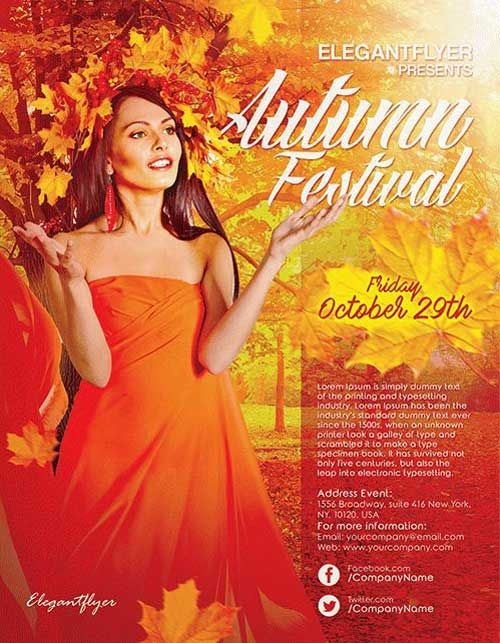 Autumn Festival Event Free Flyer Template -    freepsdflyer - free flyer template word