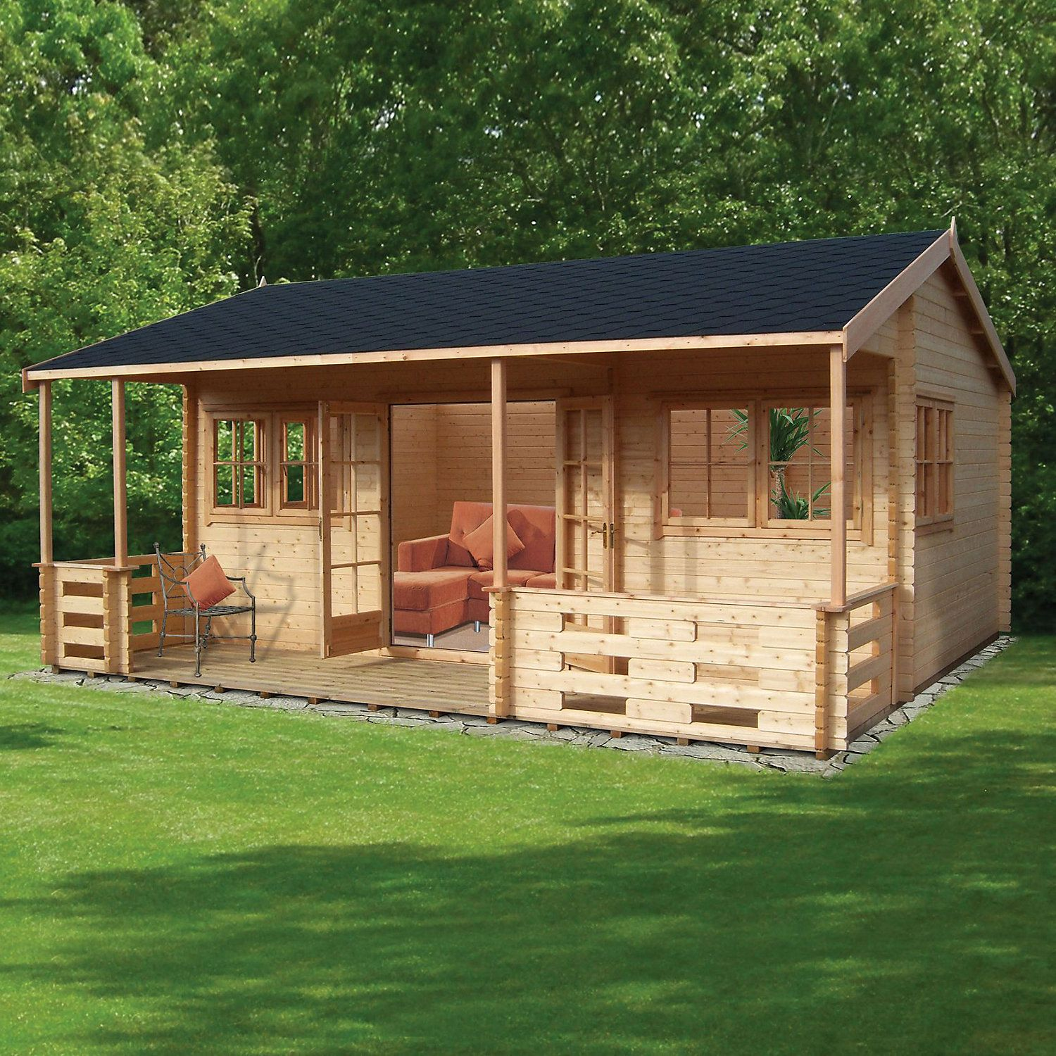 18x20 Kingswood 44mm Tongue Groove Log Cabin Wooden Cabins Log Cabin Summer House