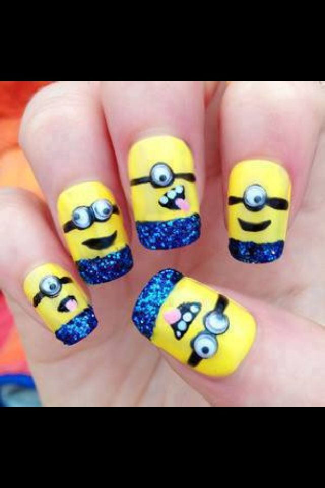 Cool minion nails good for little kids - 50 Adorable Despicable Me Minion Nail Designs Nails!! Pinterest