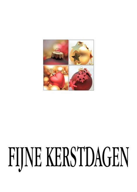 Dutch Christmas Fijne feestdagen 4 Ornaments Collage in Red and Gold card
