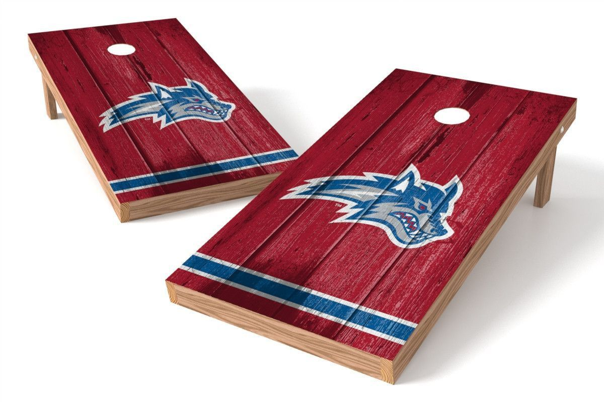 Stony Brook Seawolves Cornhole Board Set - Vintage (w/Bluetooth Speakers)