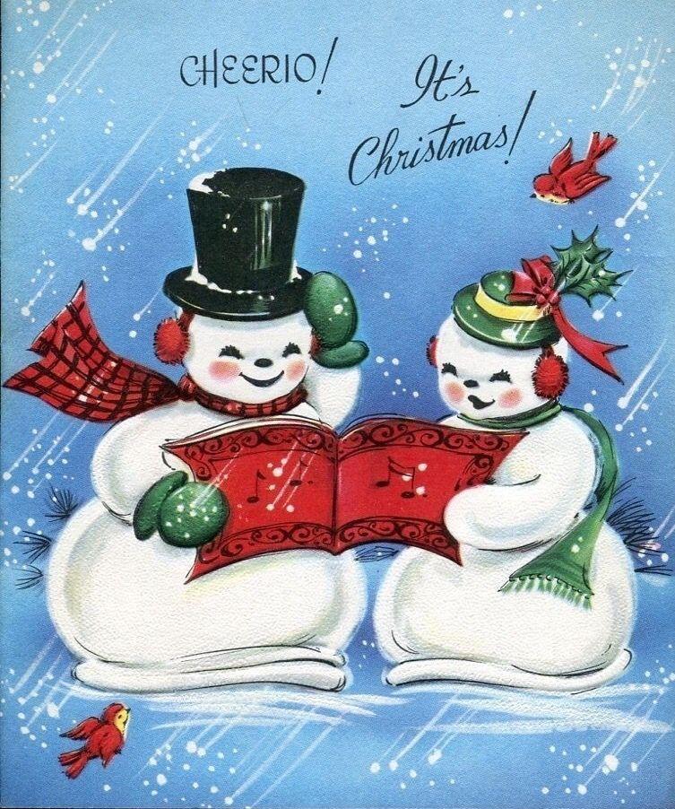 pindaniele on snow couples vintage christmas cards
