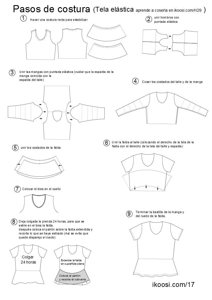 Camiseta de tela elástica con manga y falda o peplum circular ...