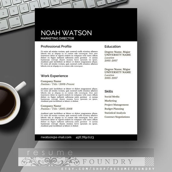 Resume Template \/ CV Template + Cover Letter for MS Word - word professional resume template