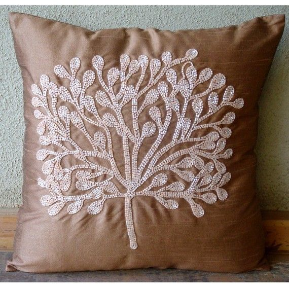 Luxury Dark Peach Pillows Cover 16 X16 Silk Throw Square Beaded Tree Pillowcases My Wish